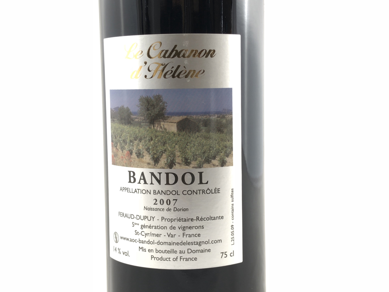le cabanon d h l ne vin de bandol rouge 2007 domaine de l 39 estagnol sandrine f raud. Black Bedroom Furniture Sets. Home Design Ideas